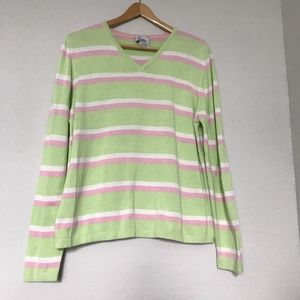 Lilly Pulitzer green pink stripe v neck sweater